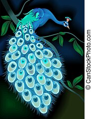 Peacock on the tree	 - Digital image of a peacock.