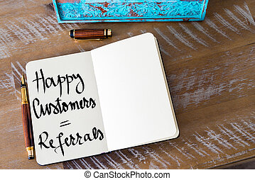 Written text Happy Customers equal Referrals - Retro effect...