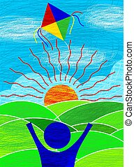 Sun, child and kite - Digital image of a kid flying a kite....
