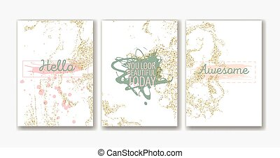 Set of the blank gold glitter card templates.