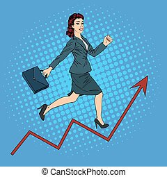 Success in Business. Pop Art Businesswoman Climbing Up the...