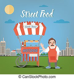 Street Food Concept with Burger Food Truck and Seller in the...