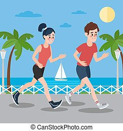 Man and Woman Running on the Seaside Promenade. Vector...