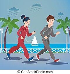 Man and Woman with Headphones Running on the Seaside Promenade under Rain