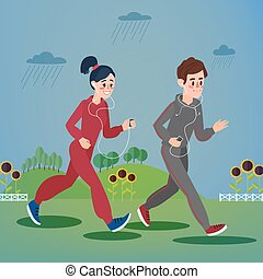 Man and Woman with Headphones Running in the Hills and Sunflowers under Rain