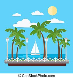 Seaside Promenade with Palm Trees and Yacht. Vector...