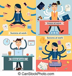 Success and Stress at Work Set of Banners. Man and Woman at...