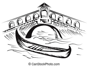 venice gondola isolated on a white background