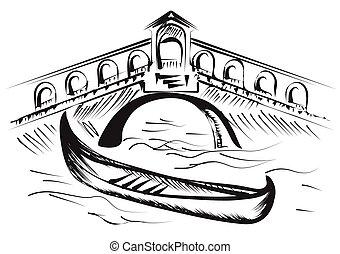 venice gondola isolated on a white background