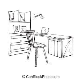 Stuhl gezeichnet  Vektoren von skizze, hand, gezeichnet, stuhl, café, tisch. - Hand ...