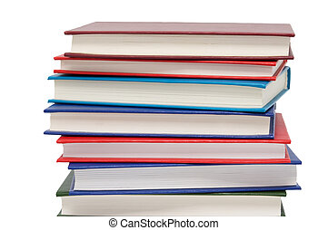 Books with colour covers isolated on a white background.