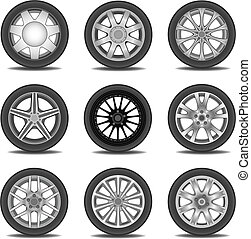 tire - Illustration set of different tires in vector
