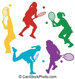 Colorful tenis player silhouettes - Colorful tenis woman...