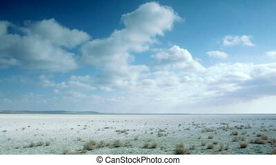 Cloudy Sky over the Prairie in Kazakhstan - Landscape view...