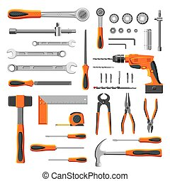 Modern mechanic tools set collection on white background...