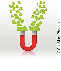 attracting money with a horseshoe magnet concept
