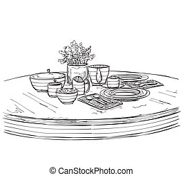 Table setting set. Weekend breakfast or dinner. Hand drawn...