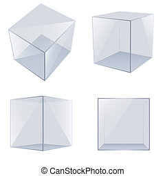 Four transparent glass cubes