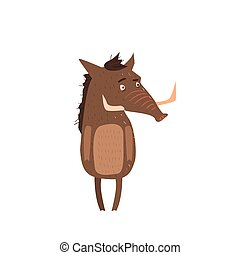 Warthog Standing On Two Legs Flat Cartoon Stylized Vector...