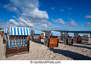 Sunrise on the beach in Binz, Ruegen Island - Morning on the...