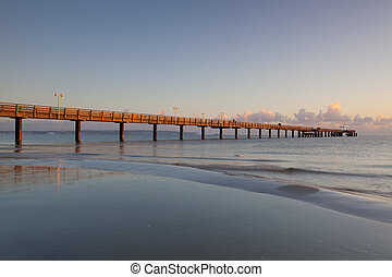 Sunrise on the Pier in Binz, Ruegen Island - Morning on the...