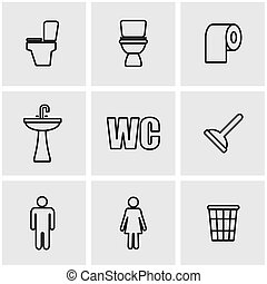 Vector line toilet icon set Toilet Icon Object, Toilet Icon...
