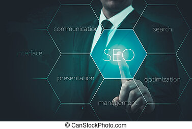 Search optimization business pointing finnger selecting seo.