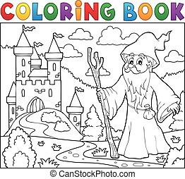 Coloring book druid near castle