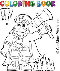 Coloring book dwarf warrior theme - Coloring book dwarf...
