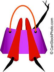 Vector - Shopaholic - Woman lying in a shopping bag,...