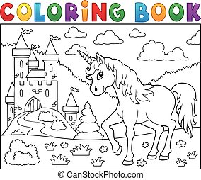 Coloring book unicorn near castle