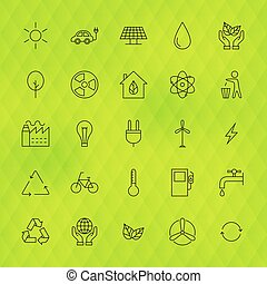 Ecology Environment Line Icons Set over Polygonal Background...