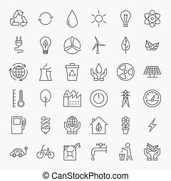 Ecology Line Art Design Icons Big Set Vector Set of Modern...
