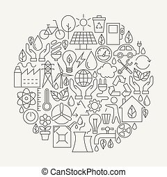 Ecology Line Icons Set Circle Shape Vector Illustration of...