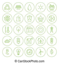 Line Circle Go Green Environment Icons Set - Line Circle Go...
