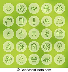Line Circle Web Ecology Energy Power Icons Set - Line Web...