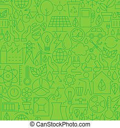Thin Ecology Environment Line Seamless Green Pattern Vector...