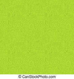 Thin Line Eco Friendly Ecology Green Seamless Pattern Vector...