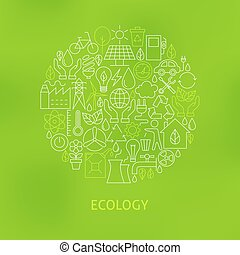 Thin Line Eco Green Power Icons Set Circle Concept Vector...