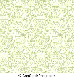 Thin Line Go Green Ecology White Seamless Pattern Vector...