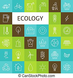 Vector Line Art Ecology Green Power Icons Set - Line Art...