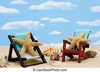 Relaxing on Vacation - A lounge chair with starfish on a sky...