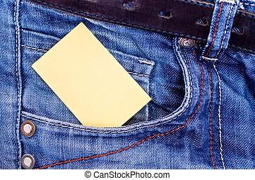 Yellow paper in pocket - Yellow message paper in jeans...
