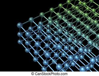 Nanoparticle grid - Nanotechnology particle 3D structure...