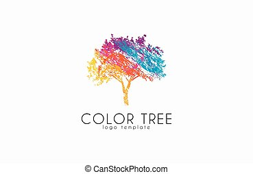Tree logo. Creative logo. Nature logo. Color tree logo...