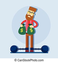 Business Man Hold Money Bag Chain Bound Legs Tax Concept