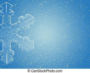 Snow flake on blue with snow