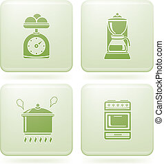 Olivine Square 2D Icons Set: Kitchen Utensils - Everyday...