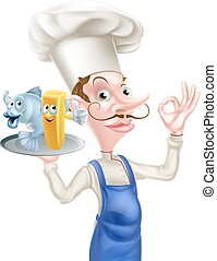 Cartoon Fish and Chips Chef - An Illustration of a Cartoon...