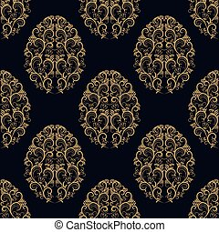 Seamless pattern from eggs with gold floral ornament